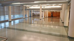 Photo of the barren lobby of Duane G. Meyer Library