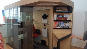 photo of the tiny office of the Steelcase CEO